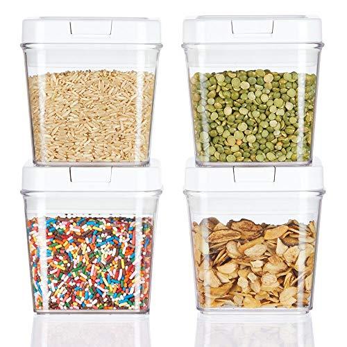 mDesign 4er-Set Frischhaltedosen – luftdichte Aufbewahrungsbox aus Kunststoff für Küchen- und Kühlschrank – kleine BPA-freie Vorratsdosen für Kaffee, Müsli, Backzutaten etc. durchsichtig
