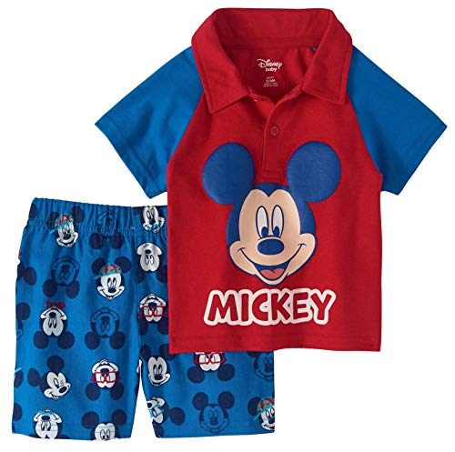 Baby Boys Mickey Mouse Polo Shirt and Short Set Size Newborn Blue