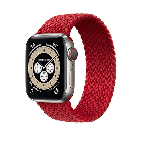 ZHONGGOZZ NNW Elástico Nylon Correa de Bucle Solitario de Nylon for Apple Watch Band 6 SE 5 3 Bandas 44mm 40 mm Correa de Correa Pulsera ForiWatch Series 6 5 4 2 (Color : Red(38/40mm), Size : L)