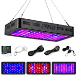 RIMARUP Grow Light 1200W LED Plant Grow Light Double Switch Full Spectrum Grow Light for Plants with Adjustable Rope Thermometer Humidity Monitor for Indoor Plant Veg and Flower