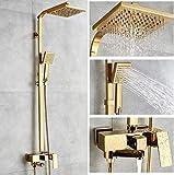 MEICHEN Badewannenarmaturen Gold Messing Bad Wasserhahn Mischbatterie Wandmontage Handbrause Kit Duscharmatur Sets
