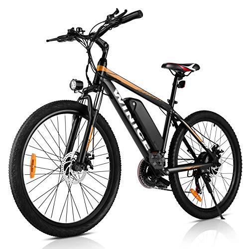 WINICE 26 Zoll Elektrofahrrad Herren Damen,500W Mountainbikes für Erwachsene,36V/10,4AH Lithium-Ionen-Akku Ebike,32KM/H E-Bike Pedelec, 21-Gang Elektro Fahrrad (Gelb)