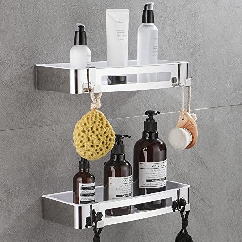 GERUIKE Duschregal Badezimmerregal ohne bohren, Selbstklebend SUS304 Edelstahl Duschkorb shampoo halterung für Küche und Bad Wandmontage - 2er Pack