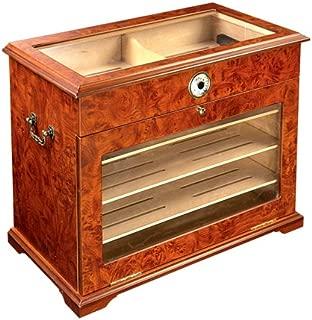 400 ct BURL Wood Cigar Desktop HUMIDOR Cabinet END Table Display CASE