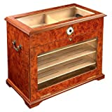400 ct BURL Wood Cigar Desktop HUMIDOR Cabinet END Table Display...