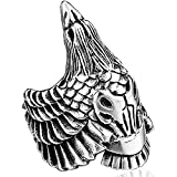 LH&BD Hombres Acero Inoxidable Odin's Raven Viking Ring Unisex Nordic Animal Pájaro Cuervo Personalizar Joyería de Amuleto,Plata,9