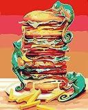 ZYCD Kits de Pintura por números Burger King DIY Pintura acrílica para niños y Adultos Principiantes con Pinceles Pinturas Lienzo