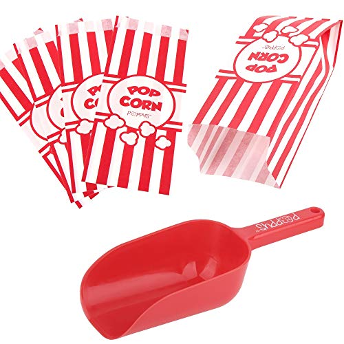 Poppy's Plastic Popcorn Scoop Bundle - 50 Bags and Plastic Popcorn Scooper, Popcorn Machine Accessories for Popcorn Bars, Movie Nights, Concessions