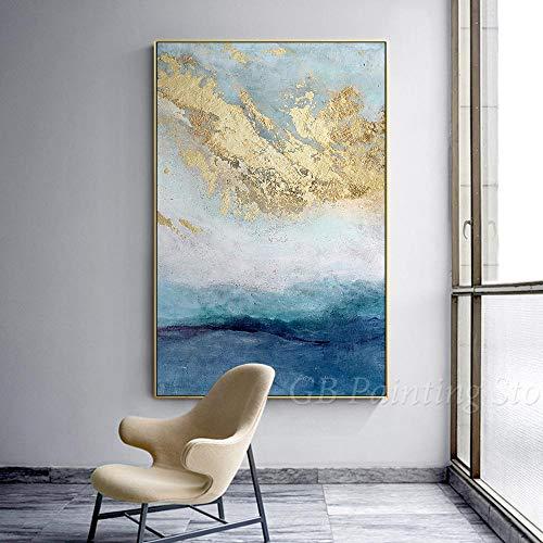 Stampa su Tela Moderna Astratta Nera e Oro Blu Navy Blu Grigio Pittura acrilica Dipinti a Mano su Tela Extra Large Wall Art 70x100cm Senza Cornice