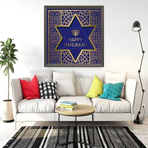 Qoalips Hanukkah 5D Diamond Painting Kits, Happy Golden Star of David Candle Culture David Festival Painting Arts Craft Canvas Full Drill Cross Stitch, 16x16 Inch