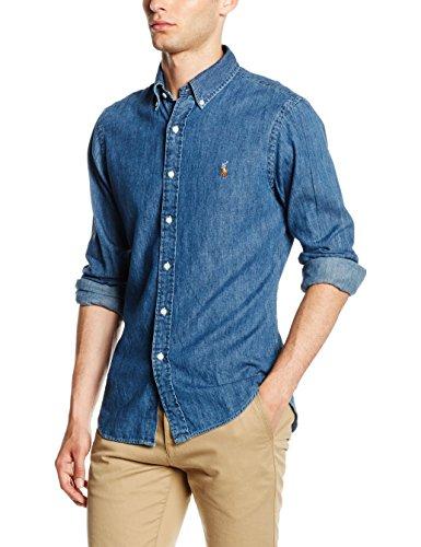 Polo Ralph Lauren Slim Fit 3BD PPC SPT Camicia, Blu (Dark Wash A4809), M Uomo