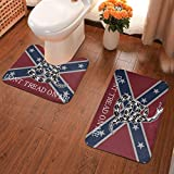 Print Photo Dont Tread On Me America Flag Free Confederate Set of 2 Flannel Bath Mat Set Bathroom with U-Shaped Contour Rug Mat for Bathroom Non-Slip Soft and Absorbent