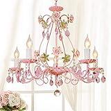 ZSML L'Originale 5 lampadario Gypsy Rosa Chiaro H20,5 'L 23,6', Struttura in Metallo Rosa con Cristalli acrilici Rosa Chiaro Camera da Letto per Ragazze