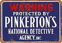 1895年 ピンカートン探偵社 ヴィンテージルック 8x12インチ メタルスズサイン レトロ - ウォールデコレーション プラーク ポスター メタルプレートブリキ 看板 2枚セットアンティークレトロ