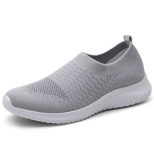 TIOSEBON Women's Walking Shoes Lightweight Breathable Flyknit Yoga Travel Sneakers 8.5 US Gray