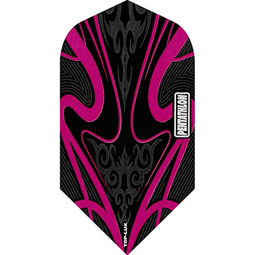 PENTATHLON TDP Lux Dart Flights, Black Series–Slim, 5Sets (15) Pink–Inklusive Darts Ecke gebogen Kugelschreiber