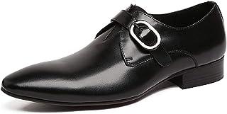 Men's Business Leather Shoes,Classic Buckle Dress Shoes Monk Shoes Banquet Wedding Cowhide Footwear,Black-37