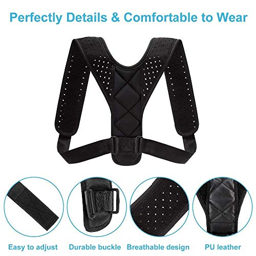 "DIY Therapy Posture Corrector for Men and Women, PT Recomended - Adjustable Upper Back Brace for Clavicle Support and Providing Pain Relief from Neck, Back and Shoulder (Universal) (Black, 28""-48"")"