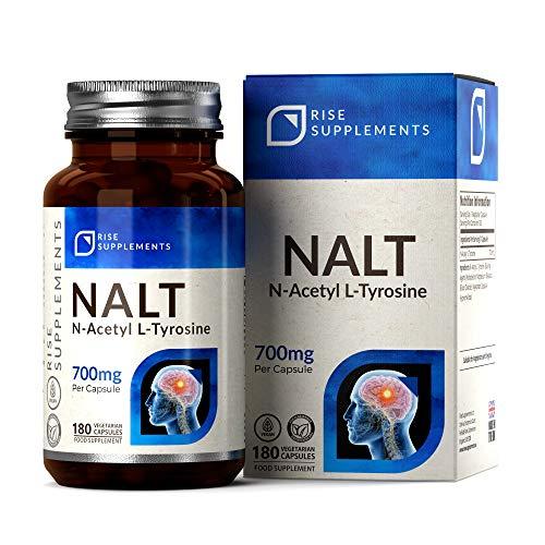 NALT N Acetyl L Tyrosine 700mg [Alta Resistencia], 180 Cápsulas Veganas | Suplemento de soporte tiroideo poco activo | Aminoácido esencial para la función cerebral | Sin OMG || Aumento de suplementos