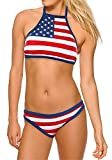 Calhoun Sportswear Women's USA Flag High-Neck Halter Top Bikini 2X