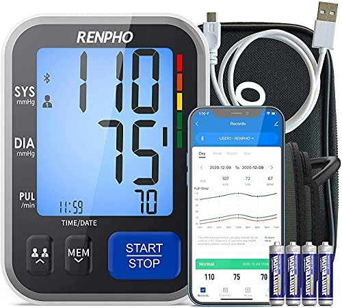 Bluetooth Blood Pressure Monitor, RENPHO Wireless Upper Arm BP Machine for Home Use Large Cuff, Accurate Digital Smart BP Cuffs with Large Display, 2-Users, App for iOS Android,Unlimited Memories