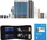Sketch Set di matite per artisti Kit da disegno in caso di cerniera con pad da disegno, tutti i materiali vari e materiali d'arte per la tua pittura (33 Pezzi)