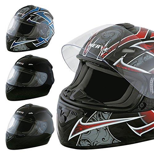 Nerve Shop Motorradhelm Integralhelm NS2013 Vollvisierhelm Fullface Motorrad Helm Mofa Motorroller Damen Herren Erwachsene - schwarz-rot - S