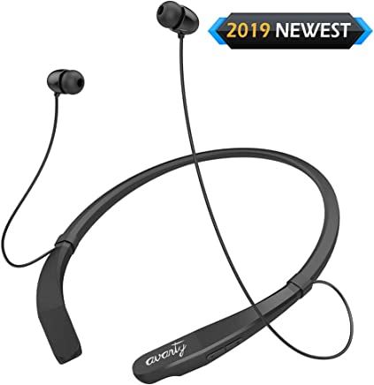 AVANTY Wireless Bluetooth Headphones Neckband V4.1 Headset Call Vibrate Alert Stereo Sport Earbuds w/Mic Sweatproof Earphones 12 Hours Play time for Gym Running Workout Android (Black)
