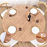 UMINEUX Round Fitted Vinyl Tablecloth with Elastic Edged & Flannel Backing, Waterproof Wipeable Round Table Cover for Indoor Outdoor Patio Use - Fits Tables up to 40