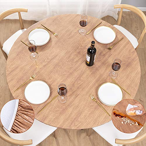 UMINEUX Round Fitted Vinyl Tablecloth with Elastic Edged & Flannel Backing, Waterproof Wipeable Round Table Cover for Indoor Outdoor Patio Use - Fits Tables up to 40' - 44' Diameter(Wood)