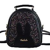 Bolsa de material de PU negro con letras decorativas para el hombro para mujer 2019, nueva ola pequeña mochila coreana de lentejuelas para mujer, bolsa de viaje con lentejuelas
