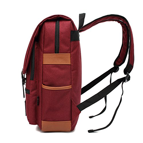 Professional Slim Laptop Backpacks, FEWOFJ Fashion Travel Daypack Casual business College Rucksack for Men Women, Work, Macbook, Tablet - Wine Red