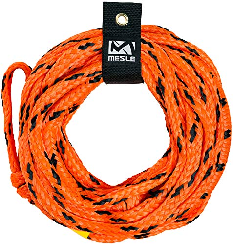 MESLE Schleppleine Bungee 4P 50', Schwimmende Tube-Leine mit Ruckdämpfer, Länge 15,2 m 50', orange-schwarz, bis 4 Personen Towables, Bungee-Seil Gummi-Leine Towing-Strap, für Boot Jet-Ski Yacht