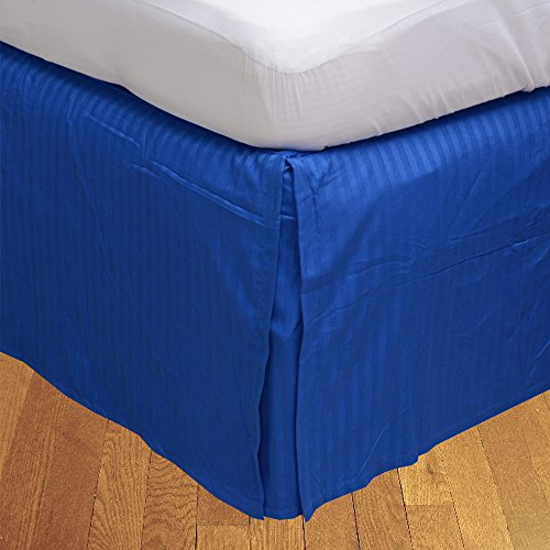 BudgetLinen Box Pleated Bed Skirt (Valance Sheet)(Azul Real Raya,Individual Pequeña Largo (2' 6'x 6' 6'), Drop Length 33cm) 100% de algodón Egipcio 600 número de Hilos