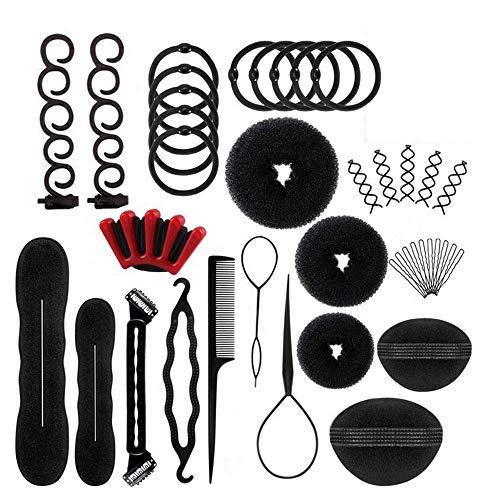 Shirylzee Haare Frisuren Set,40 PCS Haar Zubehör Styling Set Haar Styling Werkzeug, Hair Styling Tools mit Haarnadeln Clip Pad für Frauen und Mädchen Haar Design DIY
