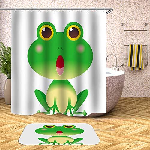 Chickwin Cortina de Ducha Antimoho, Impermeable Cortinas Baño de Tela 180X180cm Poliéster 3D Digital Vibrante Impresión Diseño con 12 Anillos (90x180cm, Rana)