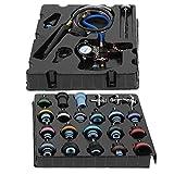 Qiilu Detector de fugas de enfriamiento, 28Pcs/Set Detector de fugas en el tanque de agua Radiador Bomba Presión Sistema de enfriamiento Tester Kit de herramientas de tapa