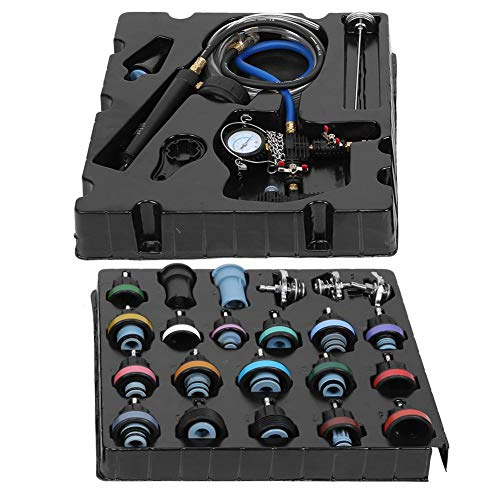 Detector de fugas de enfriamiento, 28 Unids/set Detector de fugas en el tanque de agua Radiador Bomba Presión Sistema de enfriamiento Tester Kit de herramientas de tapa, Metal + Nylon