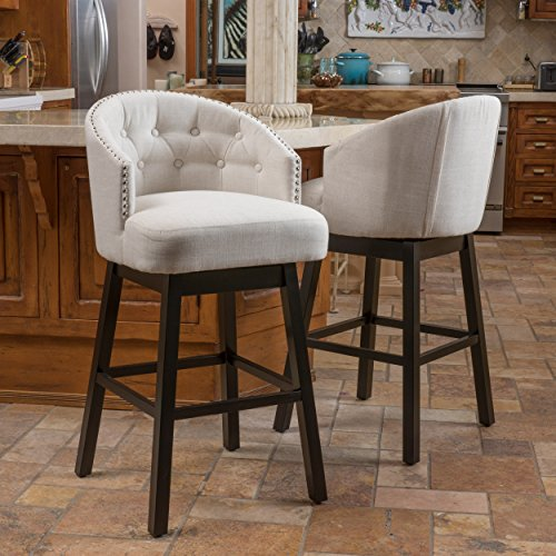 Great Deal Furniture Westman Swivel Bar Stools | Full Backed | Button Tufted | Fabric in Beige (Set of 2)