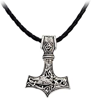 AILUOR Men Viking Leather Norse Thor`s Hammer Mjolnir Celtic Knot Pendant Necklace Jewelry Scandinavian