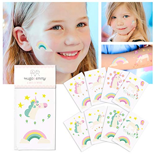 Unicorn Temporary Tattoos for Girls – 32 Tattoos, Pack of 16 Sheets – Non Toxic, Waterproof – Unicorn Theme Party Favors and Supplies for Children's Birthday, Fake, Press On and Removable