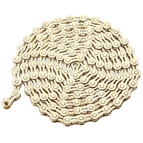ZHIQIU FSC 6,7,8 Speed 116L Bicycle Chains, Silver,Gold (1/2x3/32-Inch) (Gold Hollow)