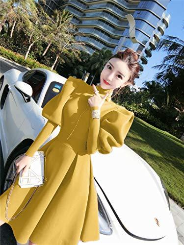 Hübsche Kleid Kleider Dress Damen Moderne Mode Rüsch Puffärmel Ballkleid Kleid Rollkragenpullover Solide Über Dem Knie Ballkleid Kleider S Gelb