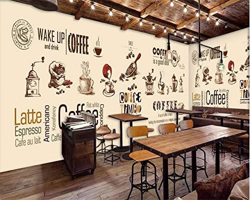 Wandbilder Moderne WanddekoTapete handbemalte europäische und amerikanische Kaffeetasse Kaffeestube Kaffeebohnen Englisch Hintergrund Wandtapete