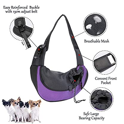 EVBEA Dog Carrier Sling Front Pack Puppy Carrier Purse Breathable Mesh Travel for Small or Medium Pet Dogs Cats Sling Bag 5