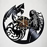 Wall Clock Compatible with Game of Thrones - Daenerys Targaryen Dragon - Vinyl Record Wall Clock Party Favor - Room Wall Decor Gift Ideas for Adults, Friends, Men and Women – Gift for him her