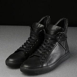 セレブシューズ メンズ 本革 牛皮 モード レザーハイカットヒールジップアップスニーカー 2色 黒 白 ブラック ホワイト スポーツ 24cm-27cm 靴くつ