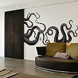 DigTour WallArt Vinyl Kraken Wall Decal Octopus Tentacles Wall Sticker Sea Monster Decals Squid Wall Graphic Mural Home Art Decor Black