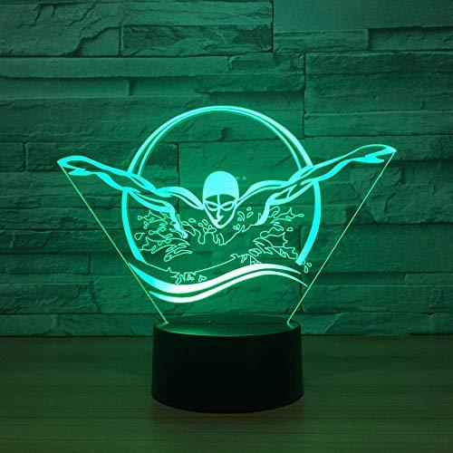 Luz nocturna 3D, luz nocturna y grabado; forma de bañera ilusión en 7 colores, con control remoto y luz nocturna visual. LED decorativo para regalos de cumpleaños de niños (tablero acrílico de 2 pies)