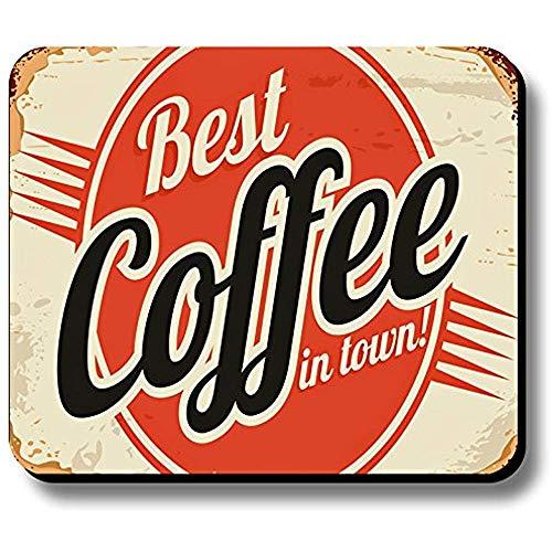 Gaming Mausepad,Office Mauspad,Rutschfeste Unterseite Mousepad,Maus Pad,Dekoratives Mauspad Vintage Sign Bester Kaffee In Der Stadt 30X25Cm
